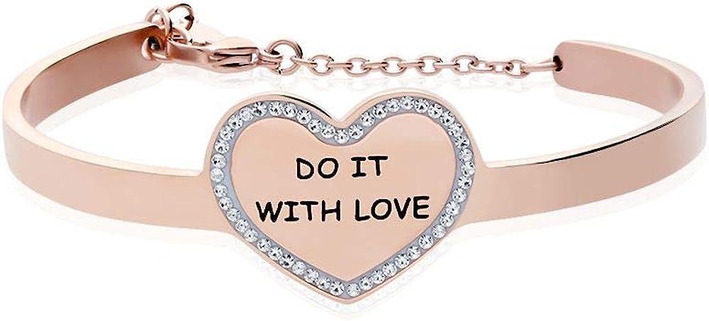 Bracciale stroili da donna in acciaio,bangle do it with love in acciaio rosato e strass 1663117
