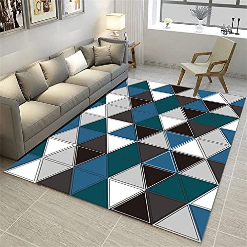 Alfombras Infantiles Grandes Alfombra Habitación Matrimonio Blue Gris Blanco Moderno Minimalista Abstracto diseño gráfico Alfombras De Pie De Cama 180X280cm