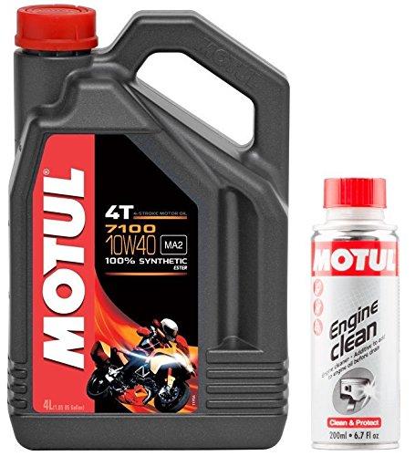MOTUL Duo Aceite Moto 7100 4T 10 W-40, 4 L + Engine Clean 200 ML