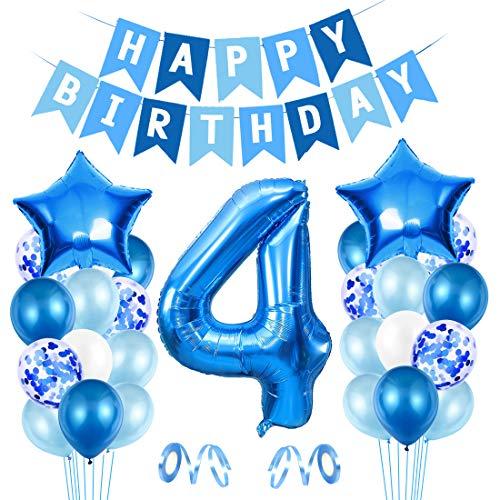4er Cumpleaños Bebe Globos Decoracion, Globos Numeros 4 Decoracion, 4 año Cumpleaños Decoración Niño, Globos de Confeti de Latex Boy Ballon Party Cumpleaños 4 Año