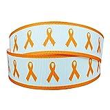 7/8 Inch Leukemia Cancer Awareness Printed 10 Yards Grosgrain Ribbon