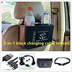 "Design for rideshare drivers U and L drivers to improve service Great box and 3in1 fast charge cable included Car organizer box with ""tips always appreciated"" sign Fix on the back of car seat to hold more things Box has been improved as foldable box,..."
