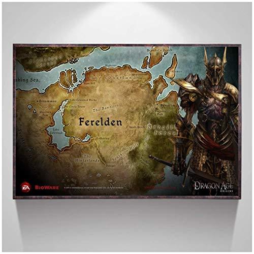 HJZBJZ Póster de mapas de Dragon Age Origins e Impresiones en Lienzo Impresiones artísticas de Pared Pintura en Lienzo decoración de la Pared del hogar-24X36 Pulgadas sin Marco