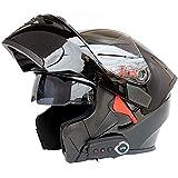 TKer Bluetooth Integrated Motorcycle Helmet, Anti-Glare Full Face Flip Up Dual Visors Modular Bike Motorcross Helmets for Adult Men and Women, DOT Certification,Black,L