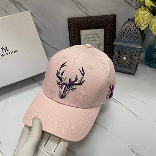 H/A Corea del Sur Shanshuku Deer Ciervos Cabeza Estimular Pareja Béisbol Sombreros Street Casual Algodón Hombres Y Mujeres Pato CAXVYK (Color : Pink, Size : Adjustable)