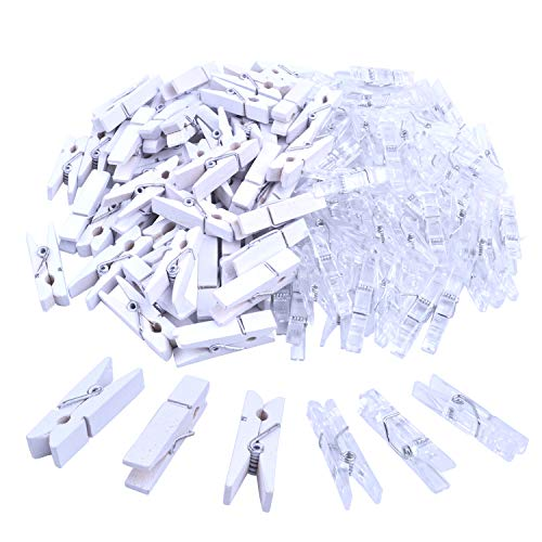 Jdesun 100 Pieces Photo Clips,Mini Plastic Paper Picture Clip Wooden Clothespins Peg for Office,Home,Arts(Clear and White)