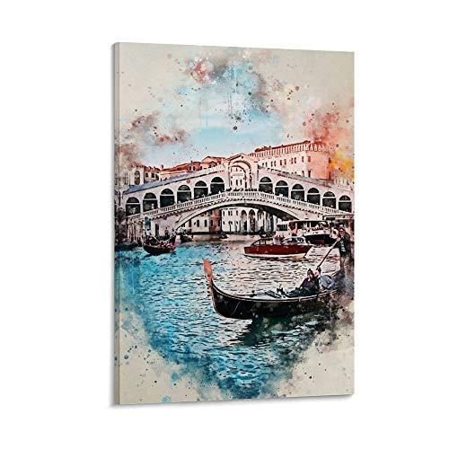 KONGTIAO Póster de Venecia en acuarela, póster artístico y mural de 60 x 90 cm