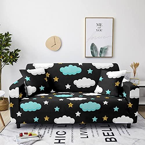Meiju Fundas de Sofá Elasticas de 1 2 3 4 Plazas Impresión Ajustables Antideslizante Cubierta de Sofá Lavable Extensible Funda Cubre Sofas Furniture Protector (Azul Dorado,2 plazas - 145-185cm)