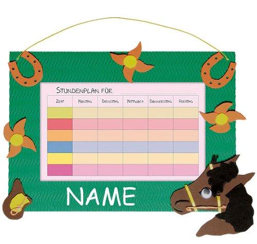 alles-meine.de GmbH Bastelset Stundenplan - Schule / Schulplaner für Schulstunden - Pferd grün Tiere - incl. Namen