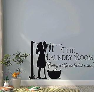 Sticker Mural Vinyle Autocollant Pour Buanderie Art Décoration Une Fille Vêtements Secs Maison Design Créatif Affiche Mura...