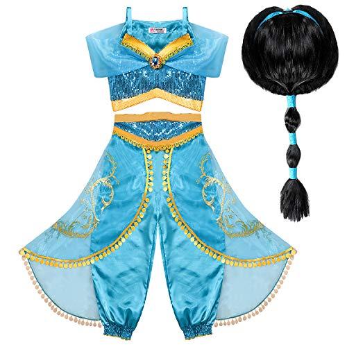 Tacobear Disfraz Jasmine Niña con Peluca Princesa Jasmine Vestido Traje Princesa Jasmine para Halloween Cosplay Fiesta Carnaval (4-5 años)