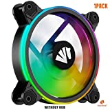 Asiahorse Model-X Inside Frame Lighting Design New Wireless RGB LED 120mm Case Fan, Quiet Edition High Airflow Adjustable, CPU Coolers,Radiators System(1PACK Without Hub)