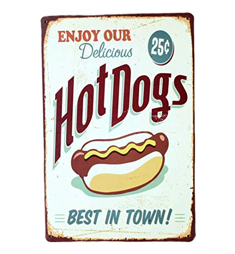 Lumanuby 1x Gemalt Hotdog Plakat für Bäckerei Restaurant oder Speisewagen Vintage Deko Wandschild Metall mit Wort\' Enjoy Our Delicious Hot Dogs, Best in Town\', Bar Sprüche Serie Size 20x30cm
