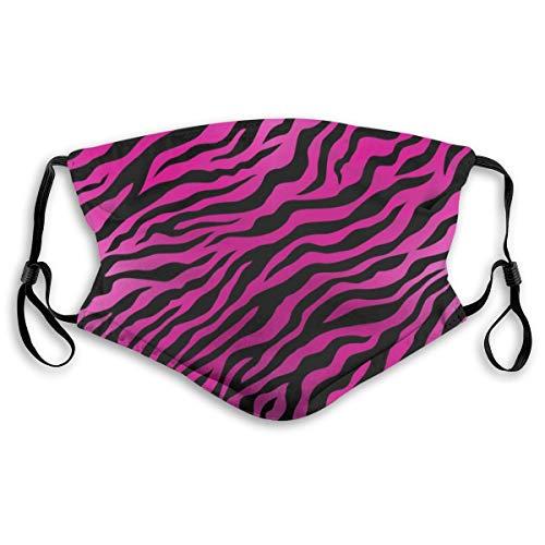 Pink Zebra Skin Muster Druck Mode Mundmaske Wiederverwendbar Anti-Staub Maske Unisex Gesichtsmaske Anti Smog Atemschutzmaske mit Aktivkohlefilter für Outdoor-Aktivitäten Radfahren Camping S