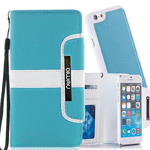 numia Schutzhülle für iPhone 6 Plus Hülle [herausnehmbares Case] PU Leder Tasche iPhone 6S Plus Kartenfach [Türkis]