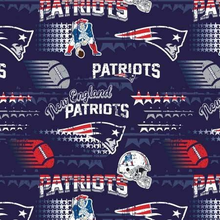 New England Patriots NFL Football in Navy 58' Wide 100% Cotton Fabric by The Yard