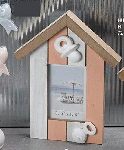 Cornice Portafoto in Legno Rosa Shabby Chic Casa Casetta Ciuccio e sogna