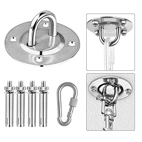 N A Hammock Hanging Kit, Durable Hooks&Carabiners, Expansion Bolts Screws Stainless Steel 400 KG (U) Capacity for Hammock Stand, Swing Chair, Punching Bag, Yoga Training, Hanging Lamp, Indoor&Outdoor