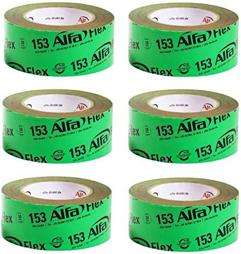 6x Flex Folienklebeband (50mm x 25m) Klebeband für Dampfbremsen, Dampfsperren und Dachfolien in grün