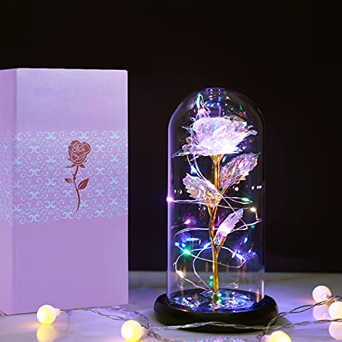 Birthday Gifts for Mom, Birthday Gifts for Girlfriend Women, Artificial Flower Rose with Colorful LED Lights Glass Rose Eternal Rose, Thanksgiving, Anniversary, Wedding Gifts for her Women Wife