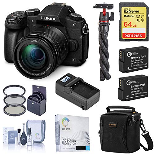Panasonic Lumix DMC-G85 Mirrorless Camera with 12-60mm OIS Lens Starter Bundle with Bag, 64GB SD Card, 2 Extra Battery, Charger, Mini Tripod and Accessories