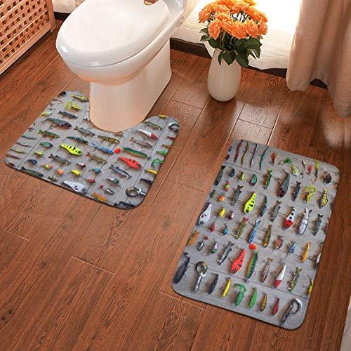 The Best Bait for Fishing Soft Flannel Bathroom Rugs Non Slip 2-Piece Bath Mat Set Super Absorbent Bath Rug + U-Shaped Contour Toilet Mat