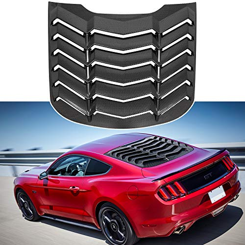 Rear Window Louver for Ford Mustang 2015 2016 2017 2018 2019 2020  ABS Gloss Black Carbon Fiber Texture Windshield Sun Shade Cover in GT Lambo Style
