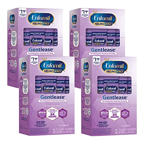 Enfamil NeuroPro Gentlease Ready to Use Baby Formula, Brain and Immune Support with DHA, Reduces Fusiness, Crying & Gas, Non-GMO, Single Serve Powder, 17.4g (14 packets), 34.16 Ounce (Pack of 4)