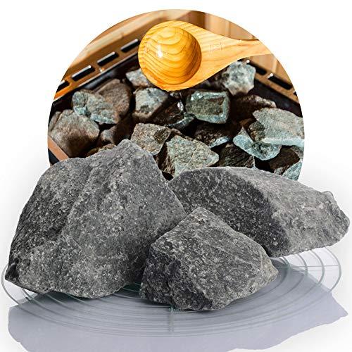 Deutsche Diabas Saunasteine 20 kg 5-8 cm, 5-11 cm oder 8-12 cm, hochwertige Aufgusssteine für den Saunaofen, vorgewaschen (5-11 cm)