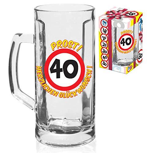 KMC Austria Design - Vaso de Cerveza de 0,5 litros, para 40º cumpleaños, con señal de tráfico 40, en Caja de Regalo