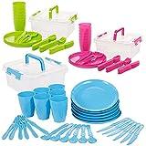 Invero - Juego de 93 piezas de plástico reutilizable para picnic, camping, incluye platos, cucharas, cuchillos, tenedores, tazas y caja de almacenamiento