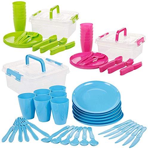 Invero - Juego de 93 piezas de plástico reutilizable para picnic, camping,...