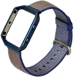 إكسسوارات حزام ساعة من النايلون المنسوج مع إطار معدني لساعة Fitbit Blaze الذكية للياقة (أزرق)