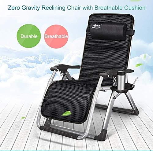QZ Übergroße Zero Gravity Liegestühle, gepolsterter Sitz, verstellbarer Patio Lounge Stuhl mit Getränkehalter und Kissen, unterstützt 440 lbs (Farbe: Schwarz)