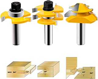 HandsEase Tongue and Groove Router Bit 1/2 Inch Shank+45°Lock Miter Router Bit Wood Milling Cutter For Doors, Tables, Shelves, Walls, DIY Project