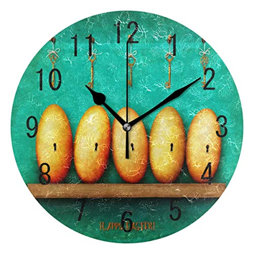 BFNBRLOR Home Decor - Reloj de pared redondo de acrílico con diseño de huevo de Pascua de 22,8 cm, no hace tictac, silencioso, para sala de estar, cocina, dormitorio