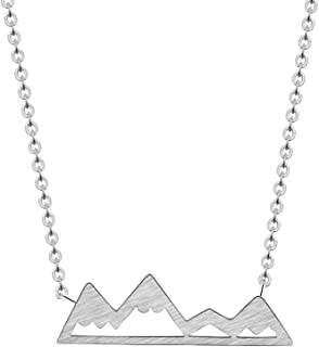 GATTVICT Choker Dainty Snowy Mountain Top Necklaces for Women Handmade Gold Silver Pendant Hiking Outdoor Travel Jewelry Bridesmaid Gift