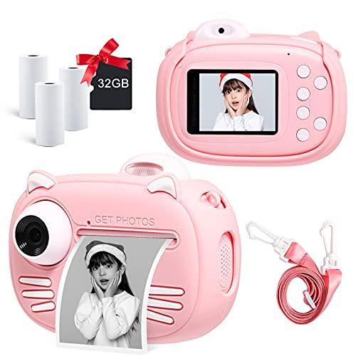 子供用プリントカメラ キッズカメラ サーマル加熱仕組みインスタントカメラ 2.4インチ画面 1200mAh大容量のバッテリー 4000万画素 1080P FHD動画 8倍ズーム 子供用カメラ 前後レンズ搭載 自撮り可能 子供用デジタルカメラ 32GB TFカード 多機能 USB TYPE-C充電 トイカメラ 子供のおもちゃ ミニカメラ 子供の日 誕生日 クリスマス プレゼント 子供プレゼント