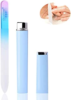 Manicure Pedicure Set, Glass Nail File Cuticle Trimmer, Fingernail File, Toenail File Suitable for Women & Girls (Pink/Blue)