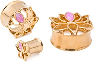 """Painful Pleasures 0g–1"""" Double Flared Opal Lotus Flower Tunnel with Gold PVD Coating — Price Per 1"""
