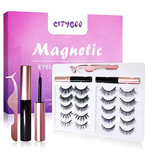 CITYGOO 2021 Upgraded Magnetic Eyeliner and Eyelashes Kit,Magnetic Eyeliner for Magnetic Lashes Set 10 Pairs
