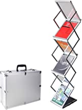 GUOHONG Foldable Magazine Catalog Literature Display Holder Rack Stand, Aluminum Portable Exhibition Literature Floor Stand and Trade Show Display, Carrying Case Included (6 Pockets)
