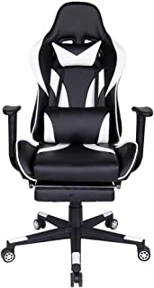 Polar Aurora Gaming Chair Racing Style High-Back PU Leather Office Chair Computer Desk Chair Executive Ergonomic Style Swivel Chair Headrest Lumbar Support (White & Black)