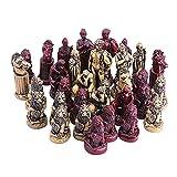 sharprepublic 32x Piezas de ajedrez de Resina, ajedrez Antiguo Romano portátil para Juegos de Viajes, fácil de Llevar, sin Tablero de ajedrez