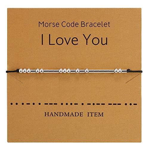 Braccialetto Morse Bracciale Perline su Seta Bracciale a Cordoncino in Argento Braccialetto Segreto Gioielli Regalo (Per Amanti)