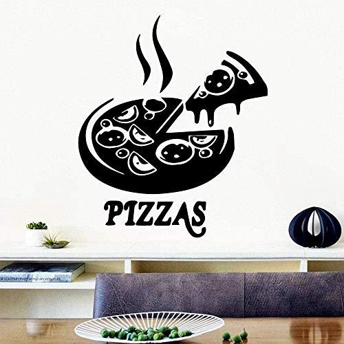 Pizza 3D pegatinas de vinilo ecológicas decoración de restaurante pegatinas de pared extraíbles papel tapiz de decoración del hogar 57x66cm