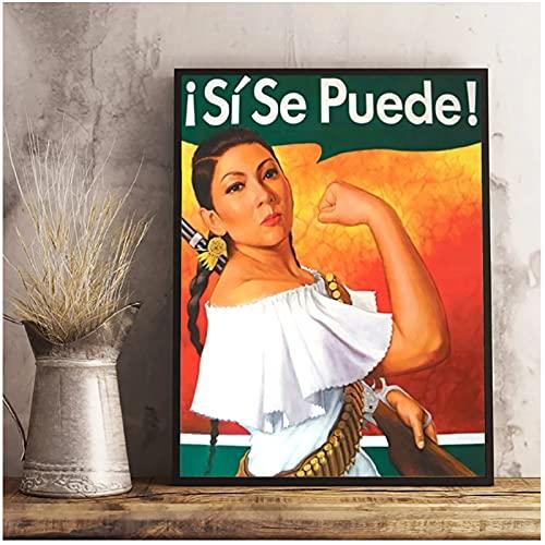 Póster de Rosie la remachadora, si Se Puede, arte de pared, lienzo, pintura, carteles e impresiones, ilustraciones únicas, 50x75cm sin marco