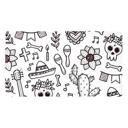 FURINKAZAN Doodle Dia De Muertos Pattern - Alfombrilla de baño antideslizante con agujeros de drenaje