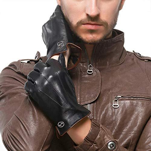 Nappaglo Herren Lederhandschuhe Winter Warme Fahren Handschuhe mit Langes Fleecefutter (Schwarz, L, Touchscreen)