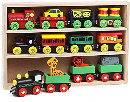 On Track USA Magnetic Wooden Engine Train Cars 12 Piece Train Tracks Accessories Set - Includes Engine Cars, Road Car, and Zoo Train for Toddler Kids, Boys and Girls Compatible with All Major Brands